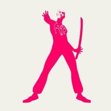 Humanoid Robot Silhouette Wearing The Suit. Robotics Industry Relative Image. Martial Art Silhouette Of Woman In Sword Fight Pose.