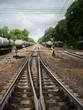Railroad tracks in railor station for transportation of oil.