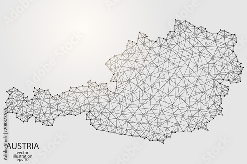 Fototapeta A map of Austria consisting of 3D triangles, lines, points, and connections