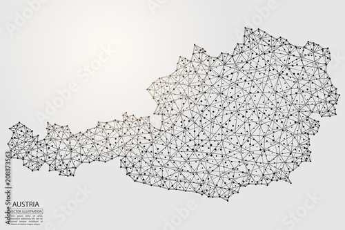 A map of Austria consisting of 3D triangles, lines, points, and connections Canvas Print