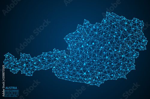 Obraz na plátně A map of Austria consisting of 3D triangles, lines, points, and connections