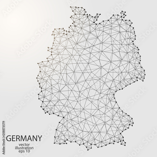 A map of Germany consisting of 3D triangles, lines, points, and connections Canvas Print