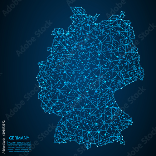 Obraz na plátně A map of Germany consisting of 3D triangles, lines, points, and connections