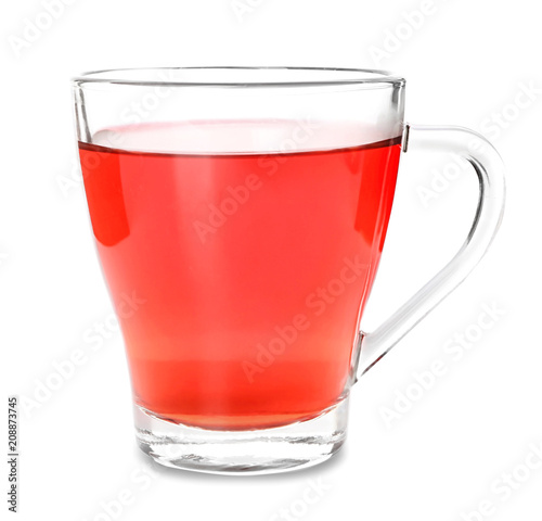 Staande foto Thee Cup of hot hibiscus tea on white background
