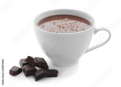 Cup of hot chocolate on white background Billede på lærred