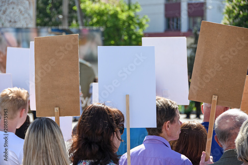 Fotografie, Obraz People with empty posters stand at a protest demonstration in Belarus