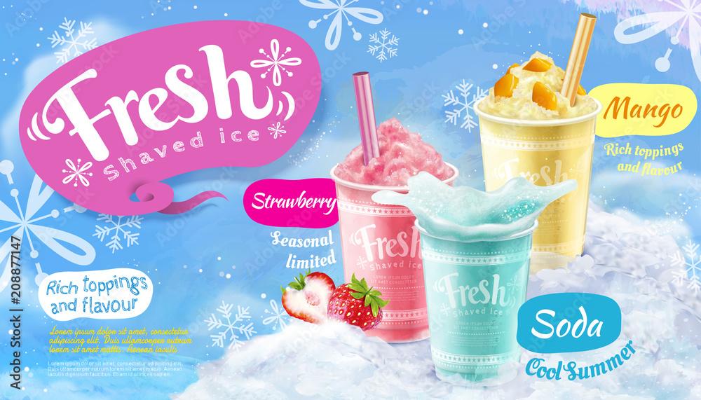Fototapeta Summer frozen ice shaved poster