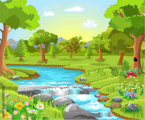 Poster Lime groen nature landscape with a river passing in the middle