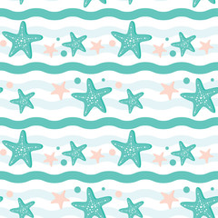 Tapeta Starfish and wave illustration seamless summer pattern for background in pastel colors