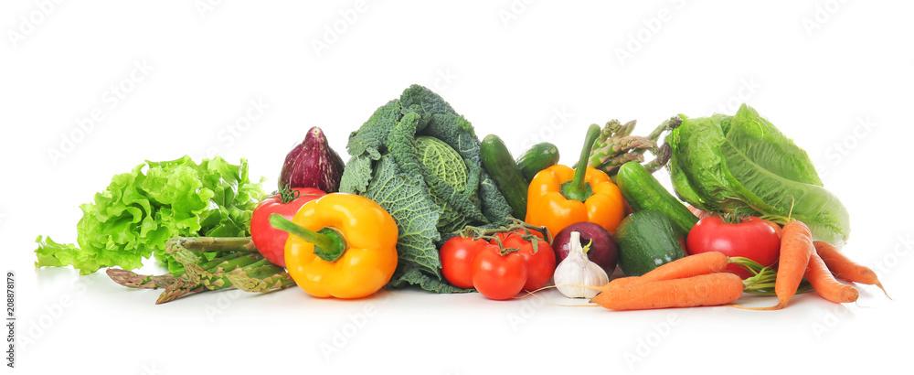 Fototapeta Fresh vegetables on white background. Healthy food concept