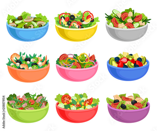Flat vector set of vegetable and fruit salads Fototapeta