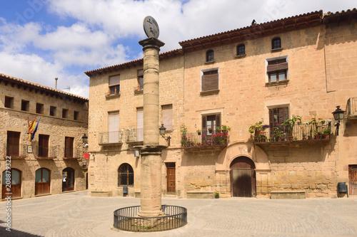 square of Cretas, Teruel province, Aragon, Spain