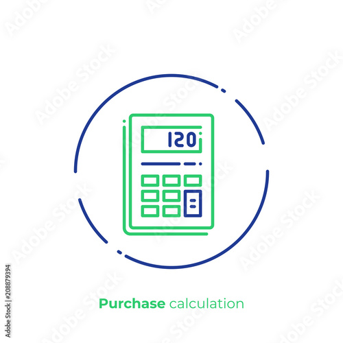 Line art budget calculator  Finance calculation  Scalable