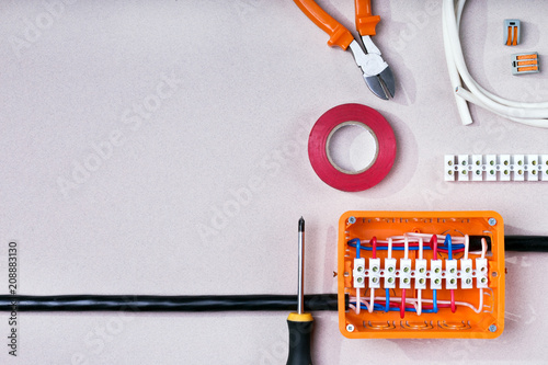 Electrical equipment. Background and texture with copy space.