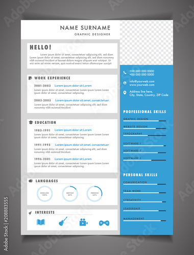 Professional CV resume template design and letterhead ...