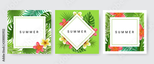 Foto  Card frame set with palm leaf, exotic flower for tropical design