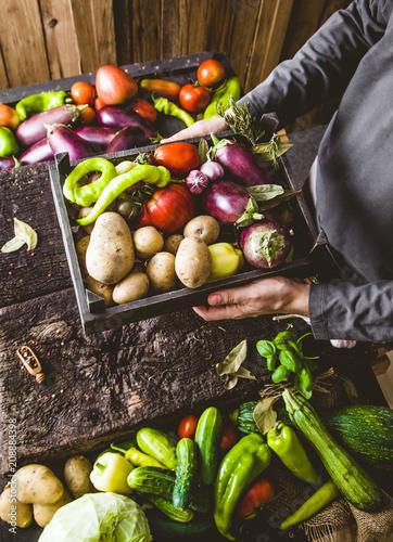Poster Cuisine Farmer with zucchini