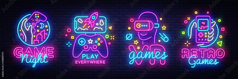Fototapety, obrazy: Video Games logos collection neon sign Vector design template. Conceptual Vr games, Retro Game night logo in neon style, gamepad in hand, modern trend design, light banner. Vector illustration
