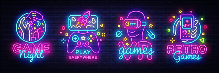 Video Games logos collection neon sign Vector design template. Conceptual Vr ...