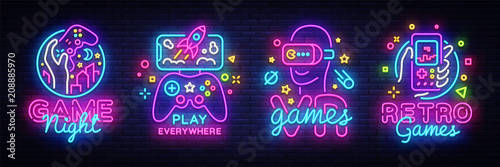 Video Games logos collection neon sign Vector design template Fototapet