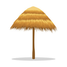 Bamboo Beach Umbrella Isolated On White