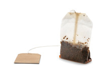 Used Tea Bag On White Background