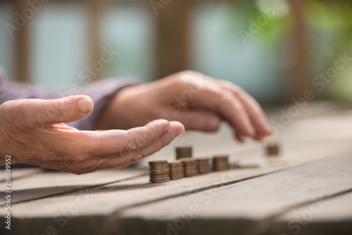 Fényképezés Money, coins, the grandmother on pension and the concept of life, minimum - hand