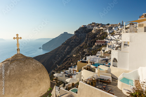 Foto op Canvas Europa Old church dome on the edge of the town of Fira.