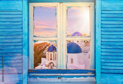 Foto op Plexiglas Europa Beautiful vintage Greek window with blue shutters. Typical Greek picture.