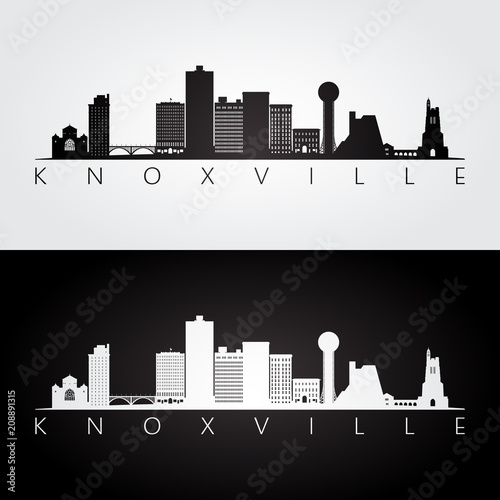 Foto  Knoxville, USA skyline and landmarks silhouette, black and white design, vector illustration
