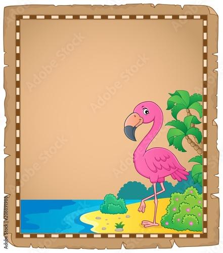 Deurstickers Voor kinderen Flamingo topic parchment 1