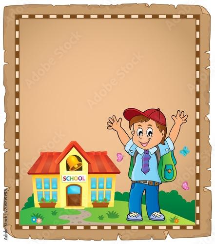 Deurstickers Voor kinderen Happy pupil boy theme parchment 1