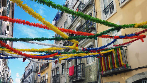 Photo  Lisbon street decoration for popular parties.