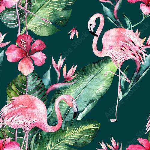 tropikalny-bezszwowe-lato-kwiatowy-wzor-tla-z-lisci-tropikalnych-palm-rozowy-ptak-flamingo-egzotyczny-hibiskus-idealny-do-tapet-z