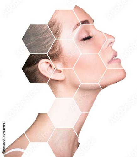 Fototapeta Beautiful female face in honeycombs. Spa concept. obraz