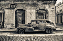 Black And White Tone Of Old Chevrolet Parked In The Street Of Havana