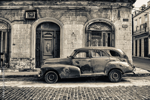 Recess Fitting Havana black and white tone of old chevrolet parked in the street of havana
