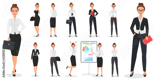 Set of young pretty business woman character design in various poses.