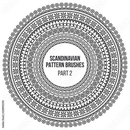 Tablou Canvas Pattern brushes inspired by scandinavian, finnish folk art