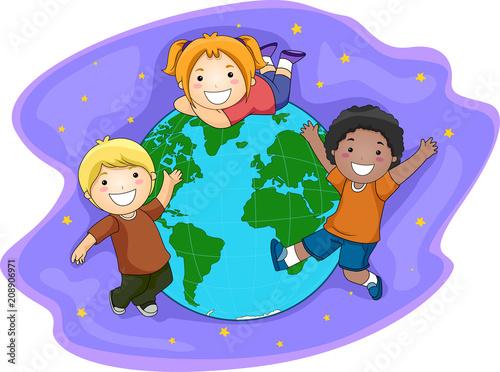 In de dag Regenboog Kids Earth Space Illustration