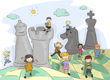 Stickman Kids Chess Field Illu...