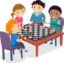 Stickman Kids Chess Club Practice Illustration