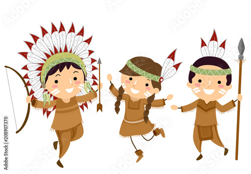 Photo Stands Indians Stickman Kids Indian Hunting Tools Illustration
