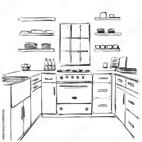 Kitchen Interior Drawing Furniture Sketch Buy This Stock Vector