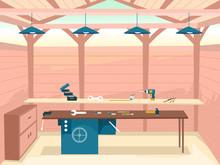Interior Wood Work Shop Illust...