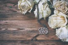Border Of Dry White Roses, Key...