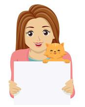 Teen Girl Cat Fan Sign Illustration