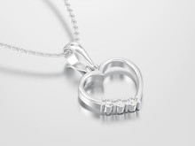 3D Illustration White Gold Or Silver Diamond Heart Necklace On Chain