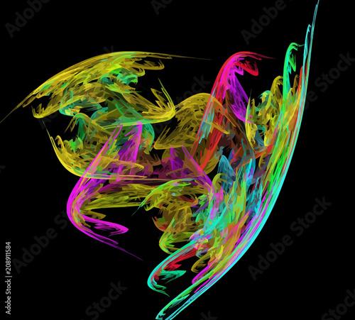 Deurstickers Fractal waves image of one Digital Fractal on Black Color