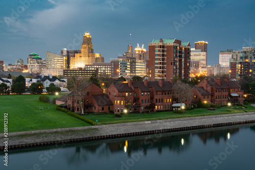 Poster de jardin Bison Skyline of Buffalo New York